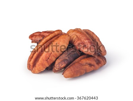 Pecan nuts on a white background