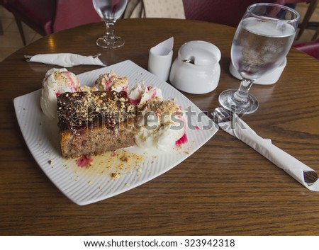 pecan walnuts pie and ice cream - greek sweet - stock photo