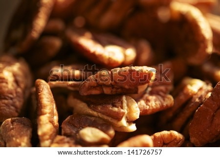 Pecans Nuts Closeup Photo. Organic Pecans