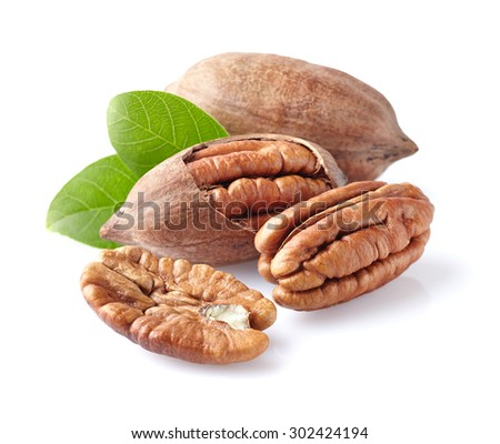 Pecans with leaf - stock photo