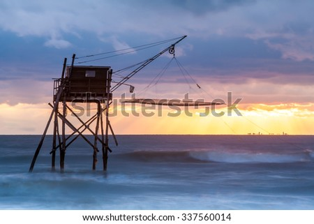 Pecherie fishing hut at sea Pornic France