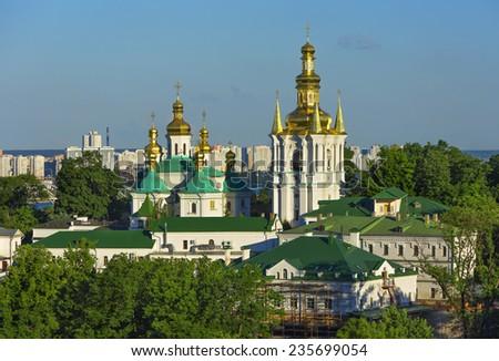Pechersk lavra panorama in Kiev, Ukraine - stock photo