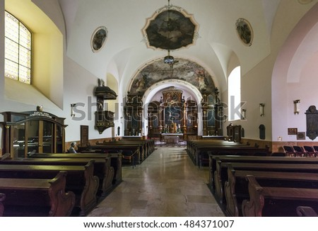 PECS, HUNGARY - SEPTEMBER 14, 2016: Interior of fhe Fatebenefratelli Church was built between 1727-1731. The interior of the church was rebuilt in 1908.