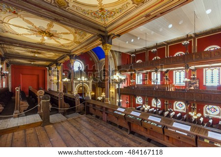 PECS, HUNGARY - SEPTEMBER 14, 2016: Interior of Pecs synagogue, consecrated in 1869, was an early structure built by the Jewish Neolog community.