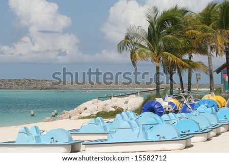 Pedal boats in a beautiful Bahama's Beach