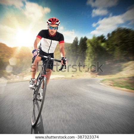 Pedaling in a natural landscape - stock photo