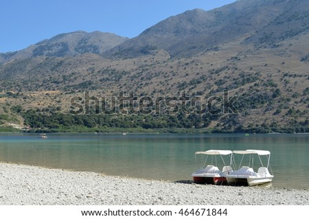 Pedalo Boats at Lake Kournas in Crete, Greece