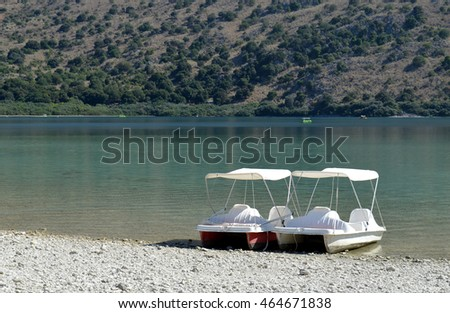 Pedalos  on the shore at Lake Kournas, Crete