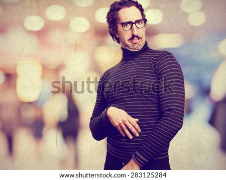 pedantic man confused sign - stock photo