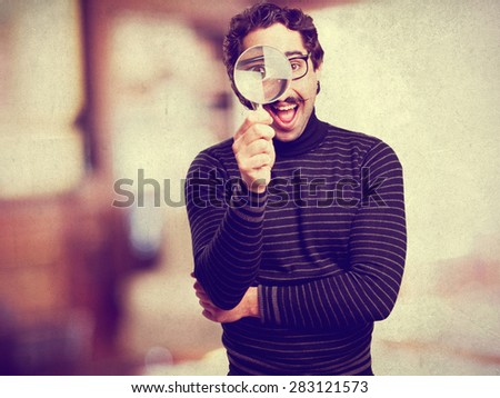 pedantic man with a magnifier
