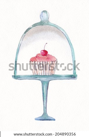 Pedestal Cake Plate with glass dome cherry cupcake  sc 1 st  Shutterstock & Pedestal Cake Plate Glass Dome Cherry Stock Illustration 204890356 ...