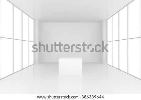pedestal in white room with windows. 3d render - stock photo
