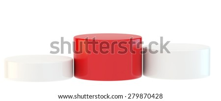 pedestal with three curbstones for winners, main red color and two white colors - stock photo