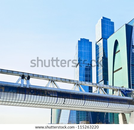 Pedestrian Bagration Bridge against Moscow International Business Center (Moscow City) - stock photo