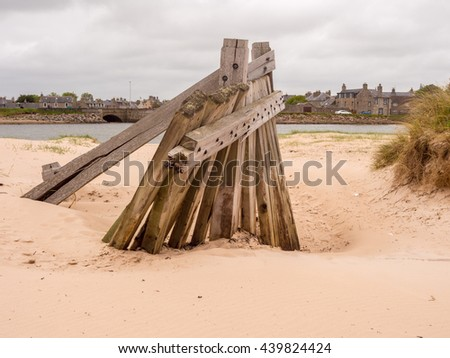 Pedestrian bridge accross to the small island at Lossiemouth, Morray Firth, Scotland, UK, - stock photo
