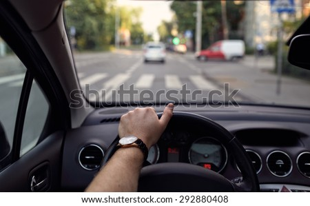 Pedestrian crossing from the driver's eyes - stock photo