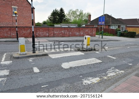 Pedestrian Crossing in a Typical English Town - stock photo