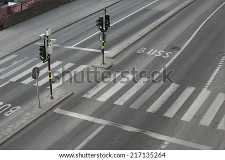 Pedestrian crossing on an urban street - stock photo