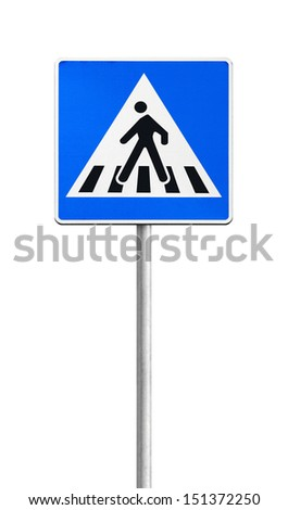 Pedestrian crossing road sign on metal pole isolated on white - stock photo
