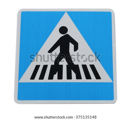 Pedestrian crossing sign isolated on a white background. - stock photo