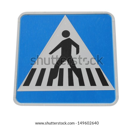 Pedestrian crossing sign isolated on white background.