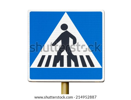 Pedestrian crossing sign isolated on white background