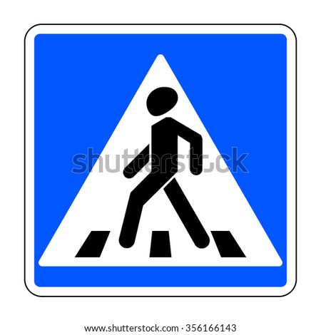 Pedestrian crossing sign. Traffic sign zebra crossing. Illustration of blue square warning sign for pedestrian crossing isolated on white background. Stock illustration