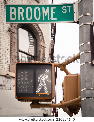 Pedestrian crossing signal for skateboarding NYC - stock photo