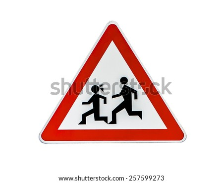 Pedestrian Danger Sign, red triangle safety traffic sign isolate
