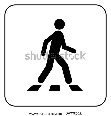 Pedestrian symbol, isolated on white - stock photo