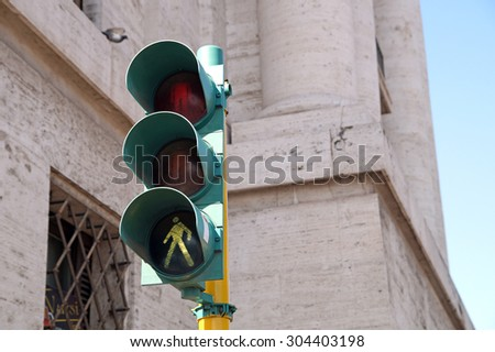 pedestrian traffic lights green - stock photo