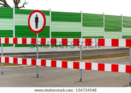 Pedestrian walk prohibited sign - stock photo