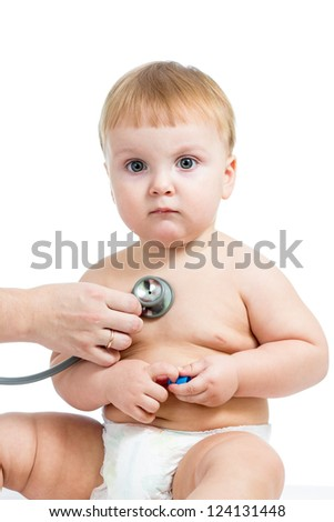 Pediatric doctor examining baby boy with stethoscope isolated on white - stock photo