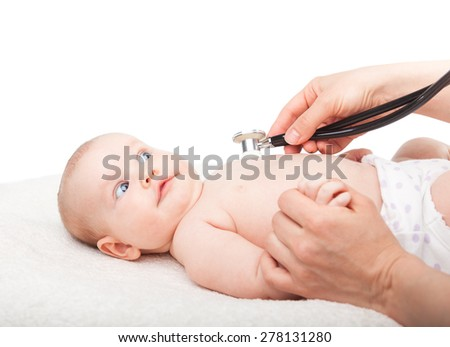 Pediatrician examines three month baby girl. Doctor using a stethoscope to listen to baby's chest checking heart beat. Child is looking anxiously at a doctor - stock photo