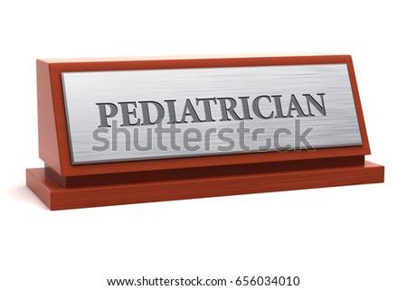 Pediatrician Job Title On Nameplate 3d Stock Illustration ...