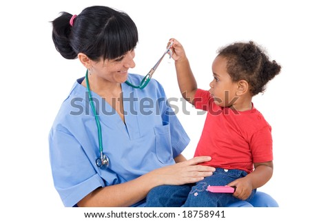 Pediatrician with a beautiful baby girl in her lap - stock photo