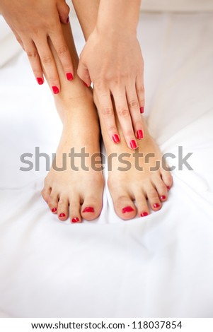 Pedicure and manicure in a spa - stock photo