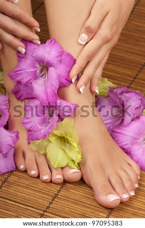 Pedicure and manicure spa with orchids - stock photo