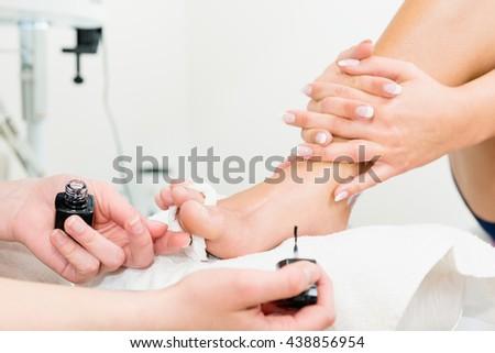 Pedicure nail polish - stock photo