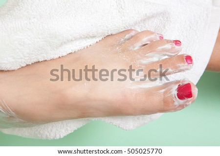 pedicure process and spa procedure macro closeup.