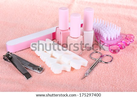 Pedicure set on table close-up - stock photo