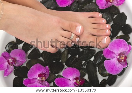 Pedicured feet with therapeutic water, pebbles, and exotic orchids - stock photo