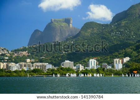 Pedra da Gavea, a famous mountain rock formation near Rio de Janeiro, Brazil. - stock photo