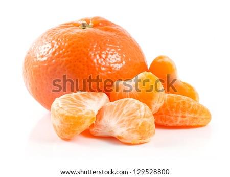 Peeled a whole tangerines isolated on white background; - stock photo