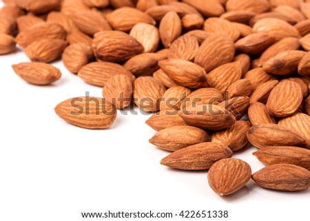 peeled almonds isolated on a white background  - stock photo