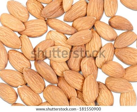 Peeled almonds isolated on white background - stock photo
