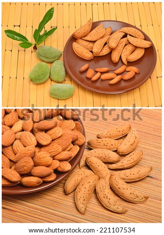 Peeled almonds on the ceramic saucer and in the nutshell on the wooden background. Collage - stock photo