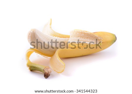 Peeled Banana isolated in selective focus
