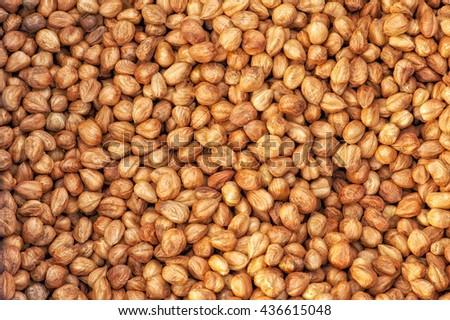 Peeled Hazelnuts, hazelnut as background - stock photo