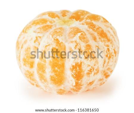 Peeled orange fresh tasty mandarin isolated on white background. - stock photo
